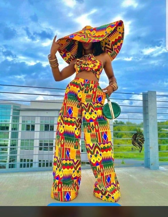 Kente palazo trouser and crop topKente African clothing for _ Etsy